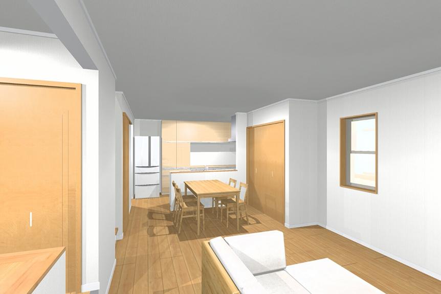 開放感のあるLDK。家族の皆様が個々に思い思いの場所で過ごしていても繋がりを感じる空間。次世代冷暖房光冷暖を採用したことで、玄関も廊下も脱衣所も、トイレも、各部屋も過ごしやすい温度。温度ムラのない過ごしやすい住環境。