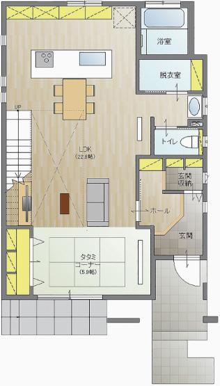 モデルハウス1階の間取り図