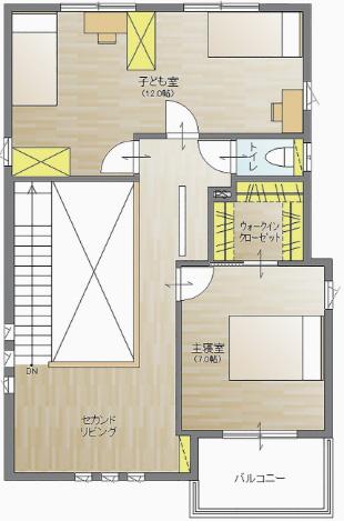 モデルハウス2階の間取り図